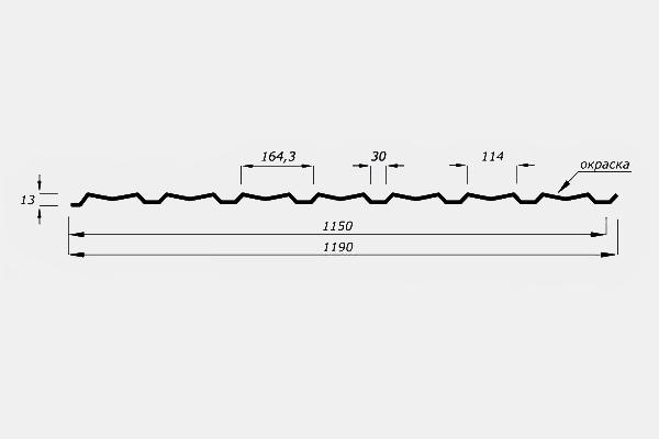 Профнастил С15 стеновой с гранью