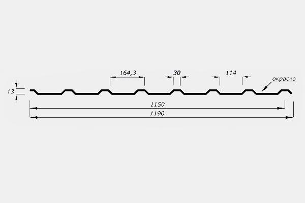 Профнастил Н15 кровельный, маркировка Н15 или СН15