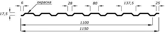 Геометрия cтенового профиля С20
