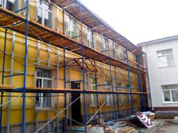 Подсистема для облицовки фасада керамогранитом для здания поликлиники